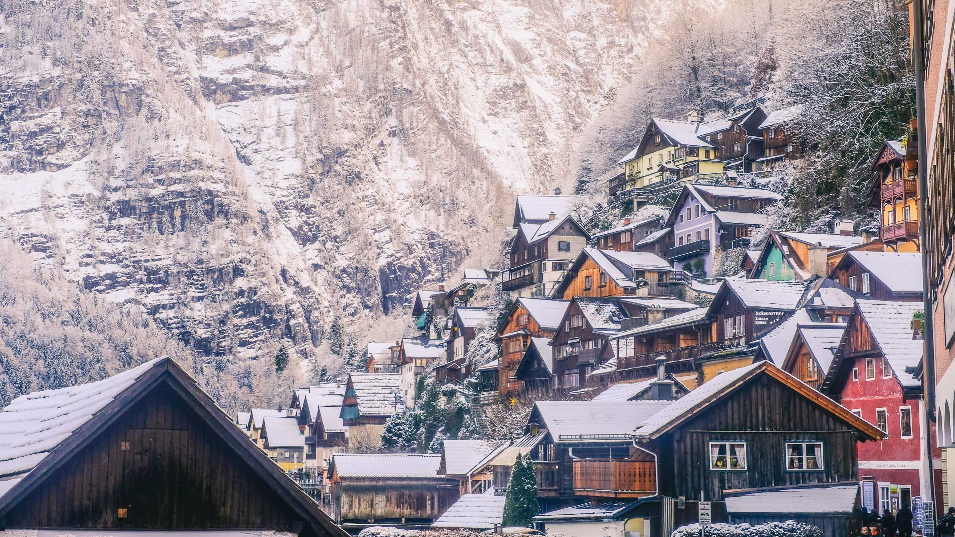 The Rooftops of the Wooden Houses in Hallstatt in Winter