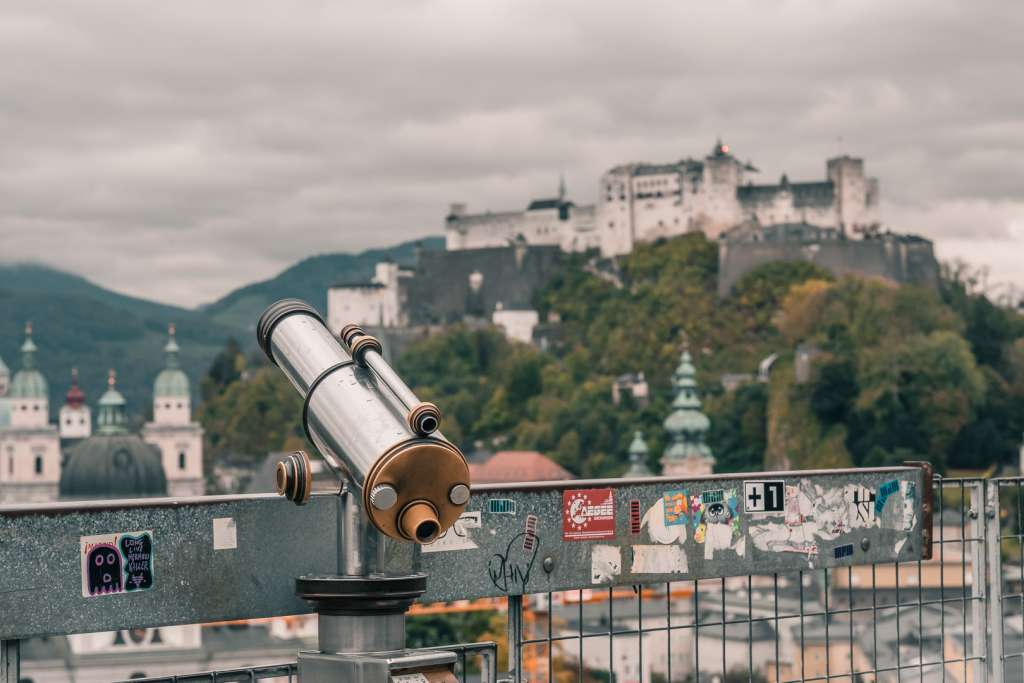 Viewpoint on Mönchsberg next to the Museum of Modern Art in Salzburg