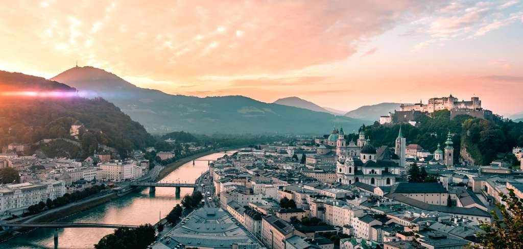 The panoramic view from the museums of modern art in Salzburg