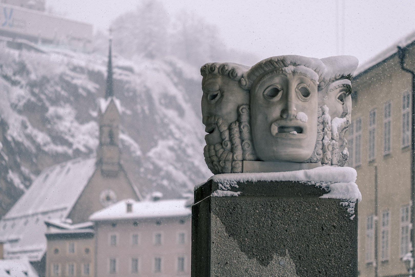 The masks in front of the Concert Hall in Salzburg