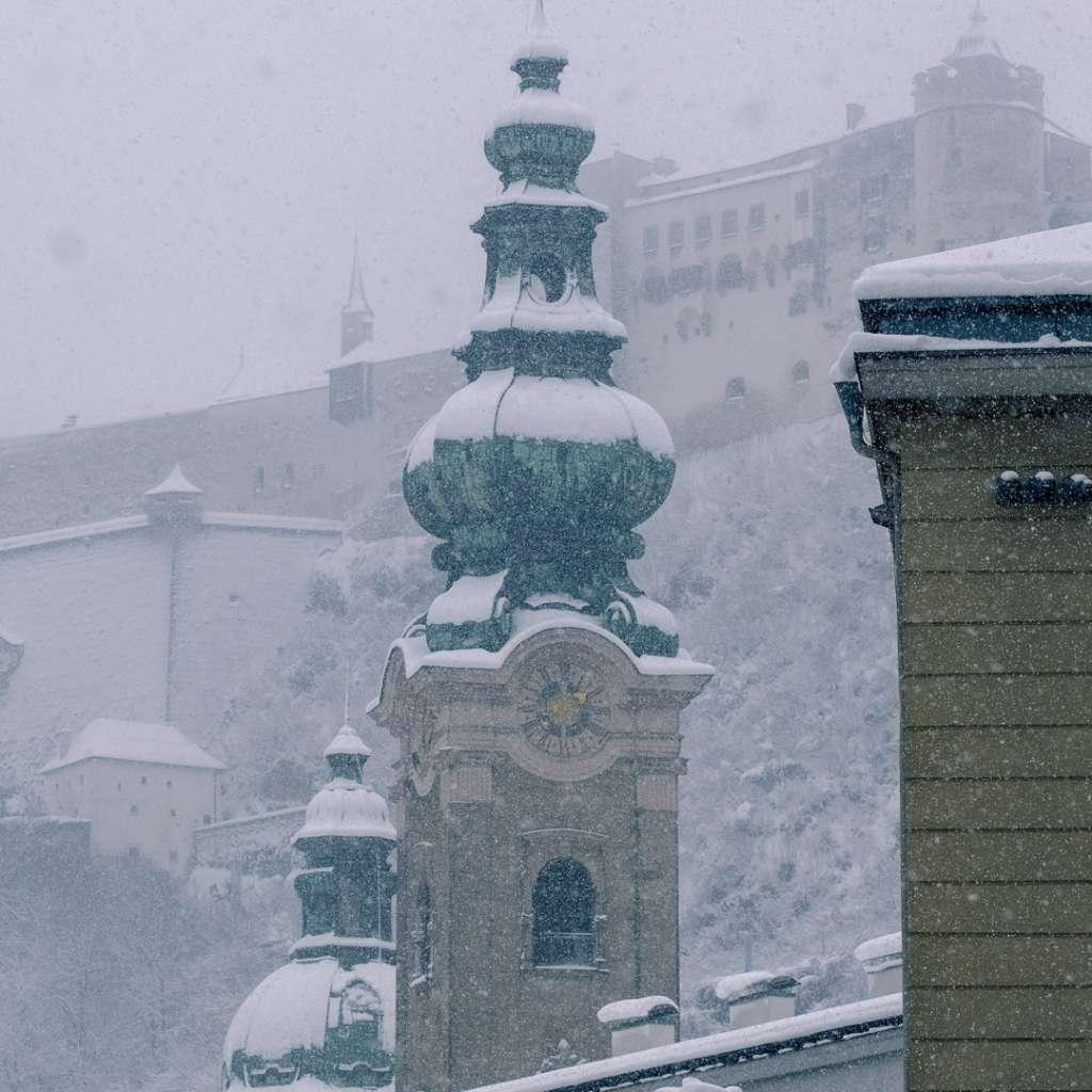 Saint Peters church in winter in Salzburg