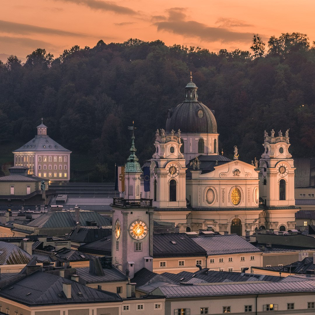 The University Church in Salzburg from the Capuchin mountain