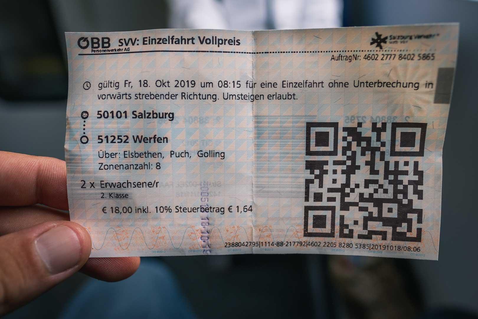 train ticket from Salzburg to Werfen