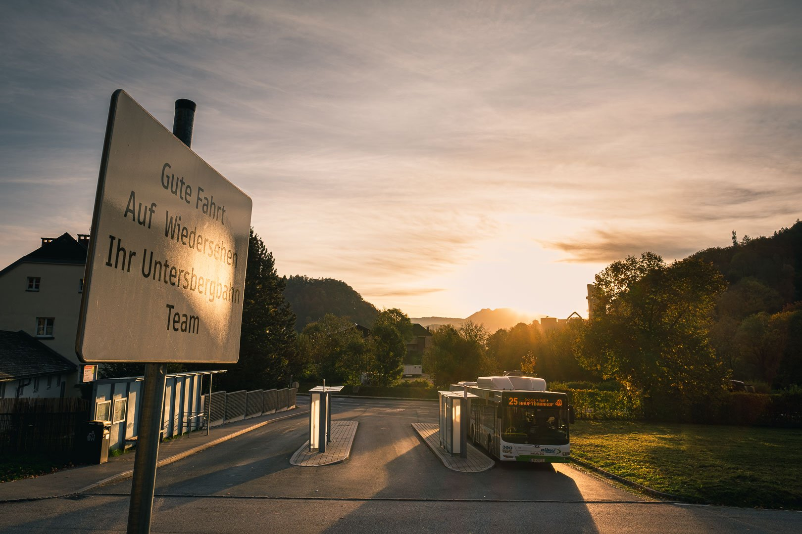 Sunrise at the bus stop for number 25 in front of the Untersberg cable car