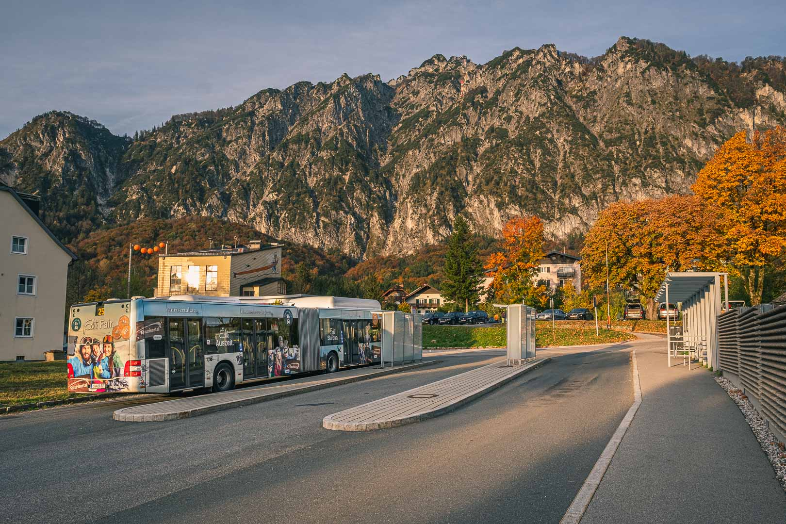 Bus number 25 in front of the Untersberg cable car in St Leonhard
