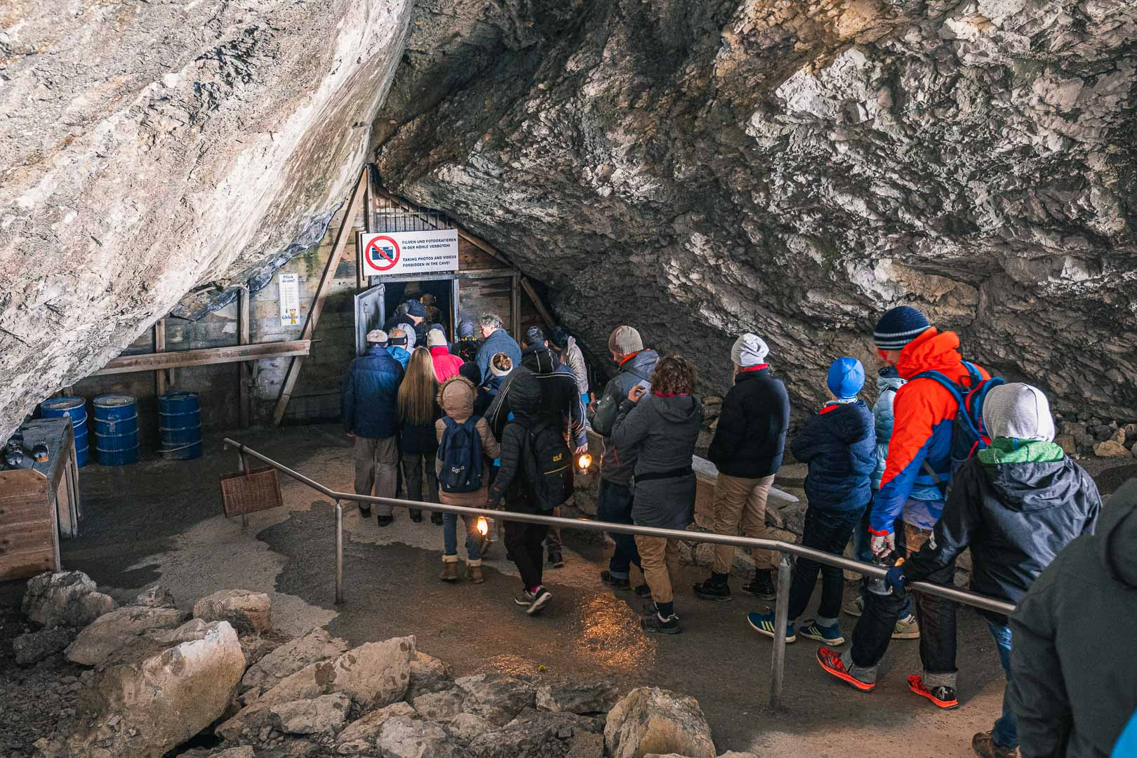 The cue at the entrance to the Ice caves