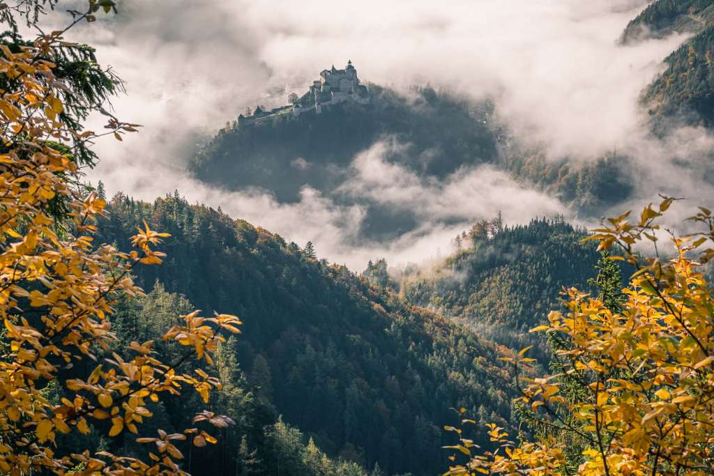 The fortress of Hohenwerfen in the fog from the Ice Caves trail