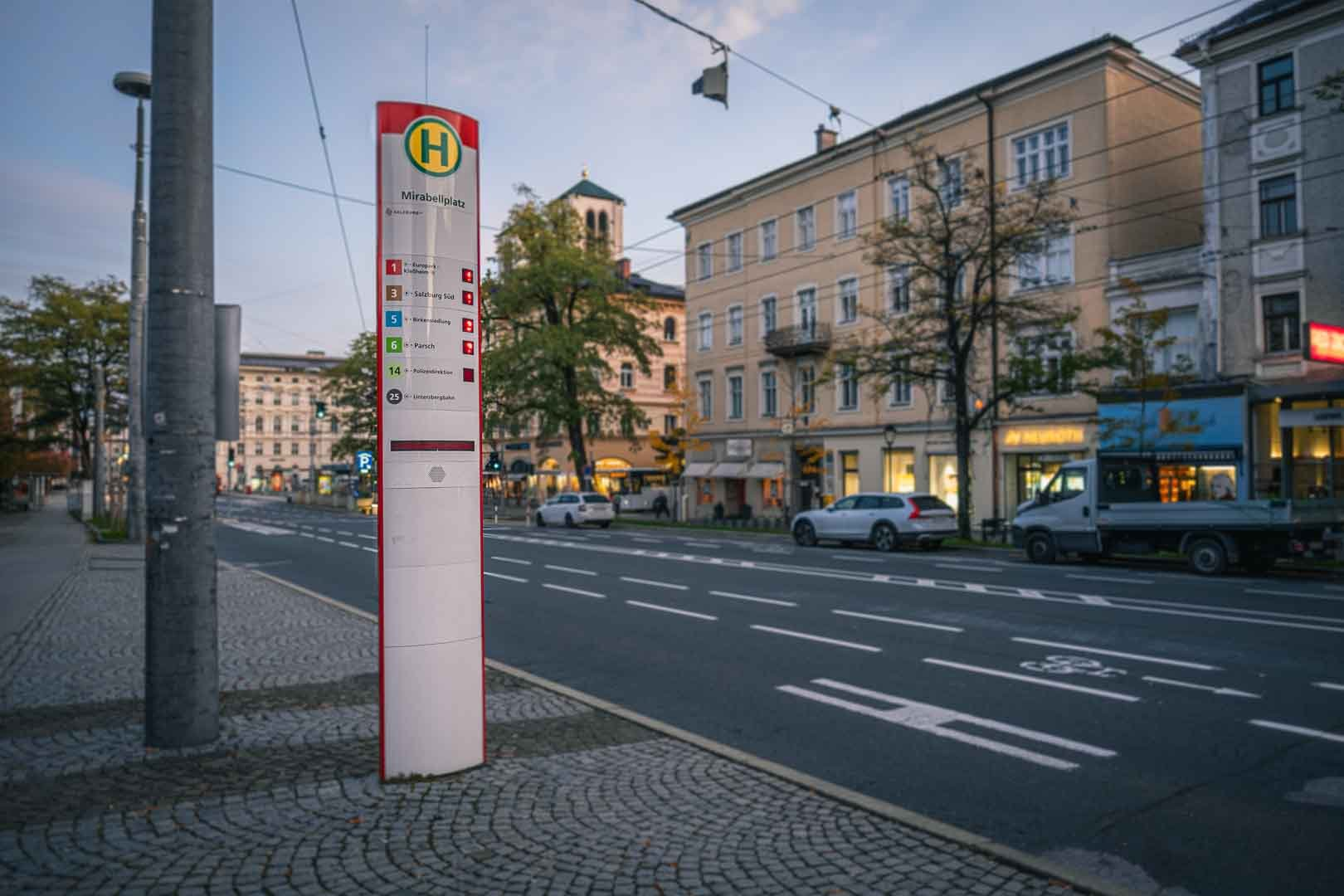 Bus stop for bus 25 at Mirabell square