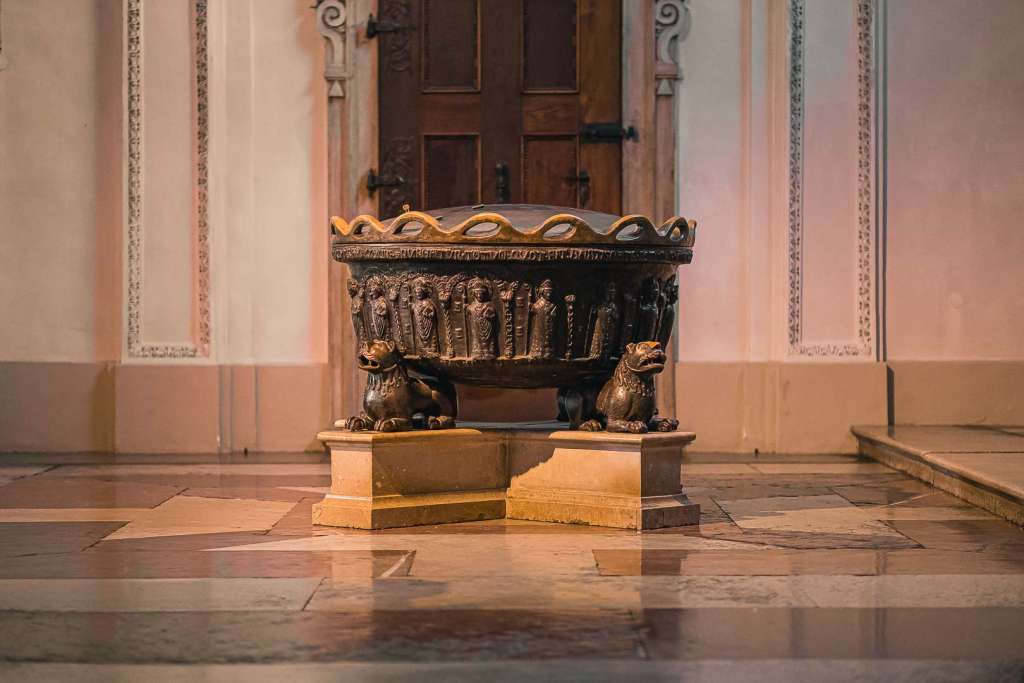 The baptismal font of the Salzburg cathedral