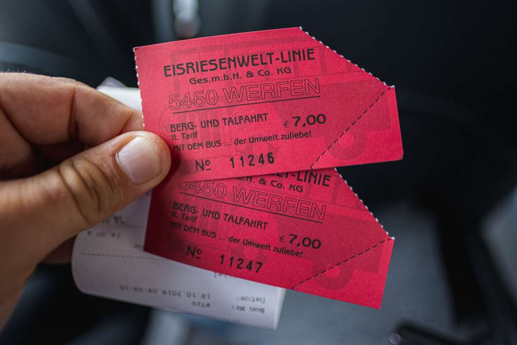 Tickets for the shuttle bus to the Ice Caves