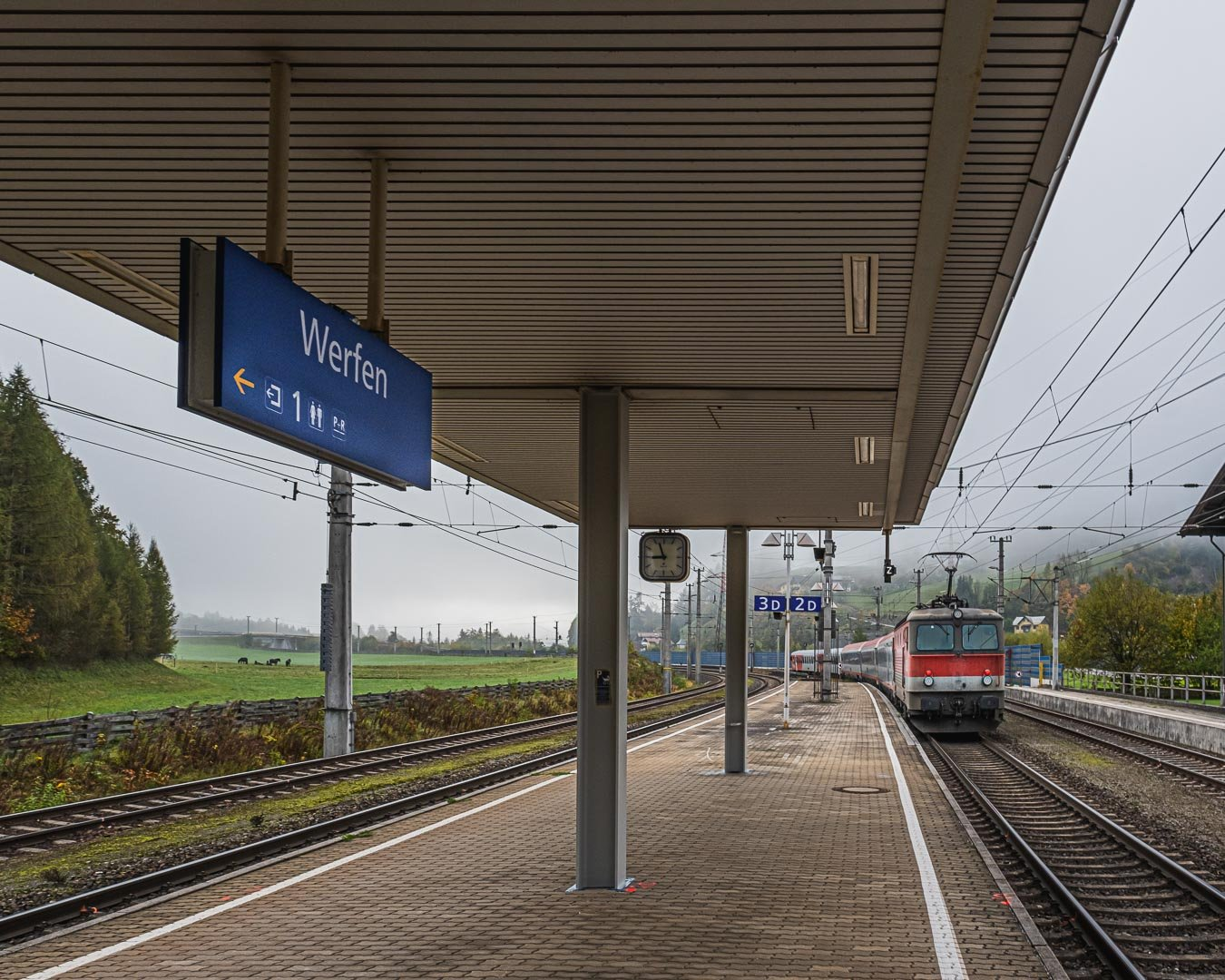 The Train station in Werfen when the train leaves