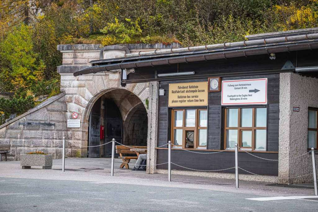 The ticket office and the tunnel to the Elevator at mount Kehlstein