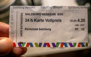 24 hour bus ticket for public transport in Salzburg