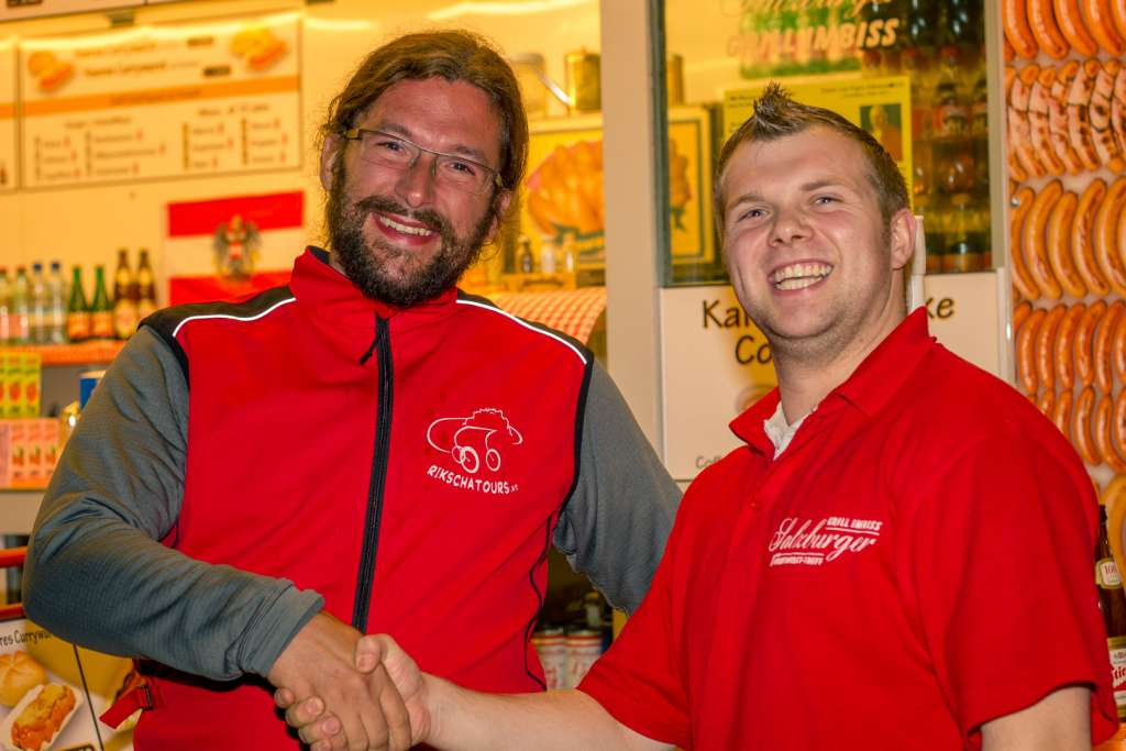 Handshake at the Grill Imbiss in Salzburg