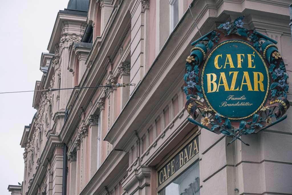 Logo and Building of the Cafe Bazar in Schwarzstraße in Salzburg