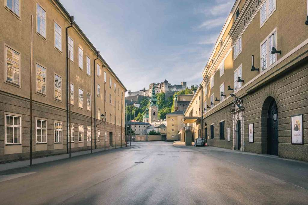 Hofstallgasse and the Concert Hall where the Salzburg Festival takes place