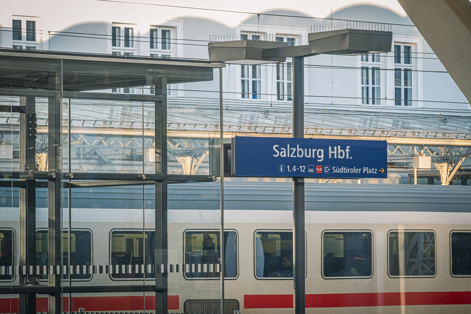 The main train station in Salzburg