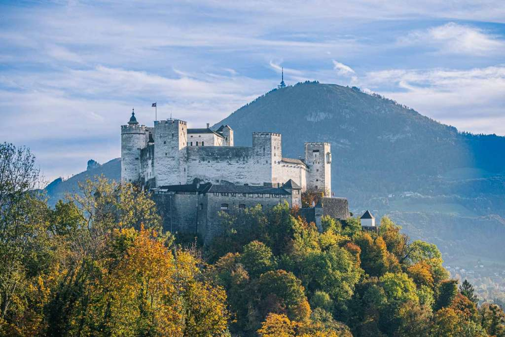 City Mountain Gaisberg behind the fortress Hohensalzburg