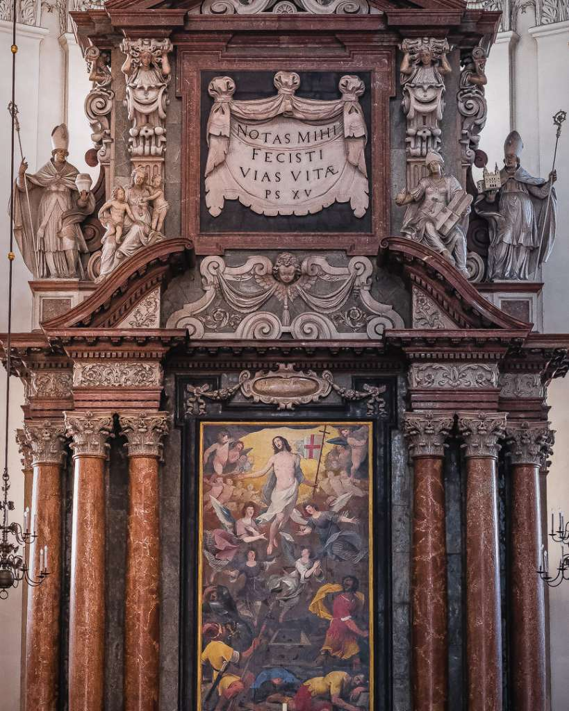 The ressurection of Christ at the main altar of the Salzburg Cathedral