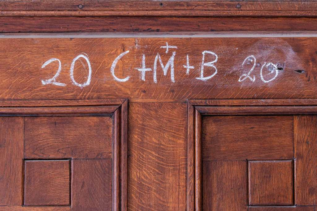 C+M+B letters written on a door in Austria by the Three Wise Men