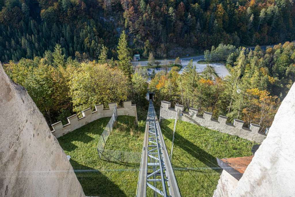 Rails of the Funicular to the Hohenwerfen Fortress