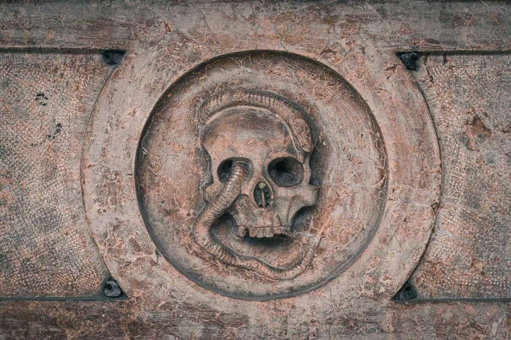 Vanitas Symbol at Sebastiansfriedhof Cemetery where Wolf Dietrich von Raitenau is burried