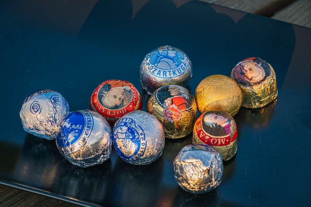 Different Mozart chocolate Balls in Salzburg