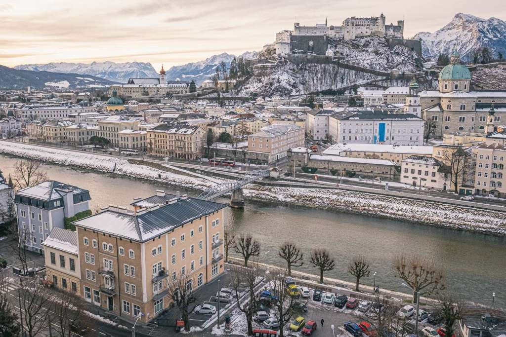 Salzburg old town view from Kapuzinerberg in winter