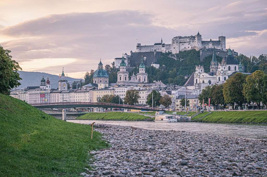 The banks of the Salzach River in Salzburg