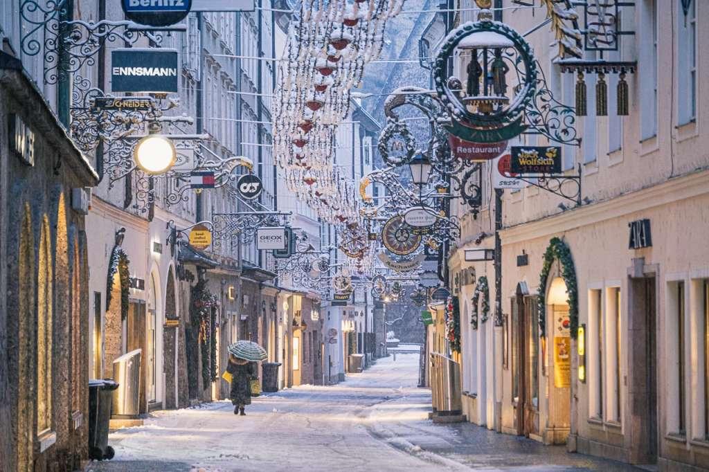 Empty Getreidegasse Salzburg in Winter